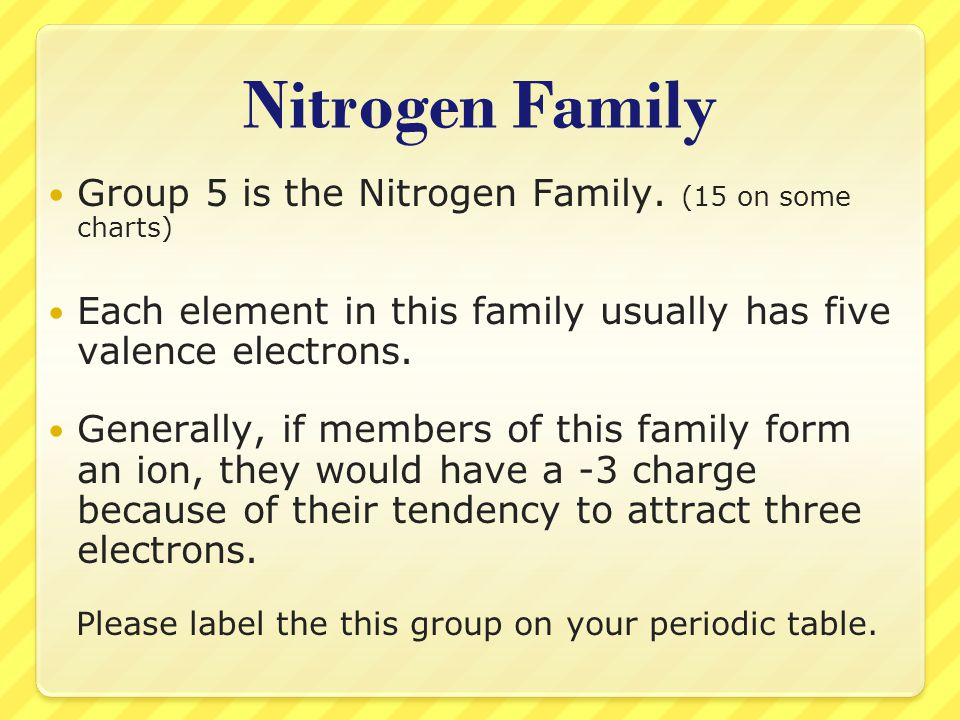 Nitrogen Family Group 5 is the Nitrogen Family. (15 on some charts) Each element in this family usually has five valence electrons. Generally, if memb