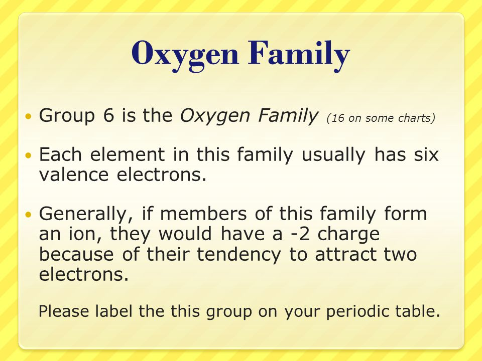 Oxygen Family Group 6 is the Oxygen Family (16 on some charts) Each element in this family usually has six valence electrons. Generally, if members of
