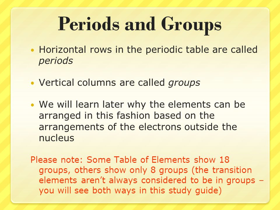 Periods and Groups Horizontal rows in the periodic table are called periods Vertical columns are called groups We will learn later why the elements ca