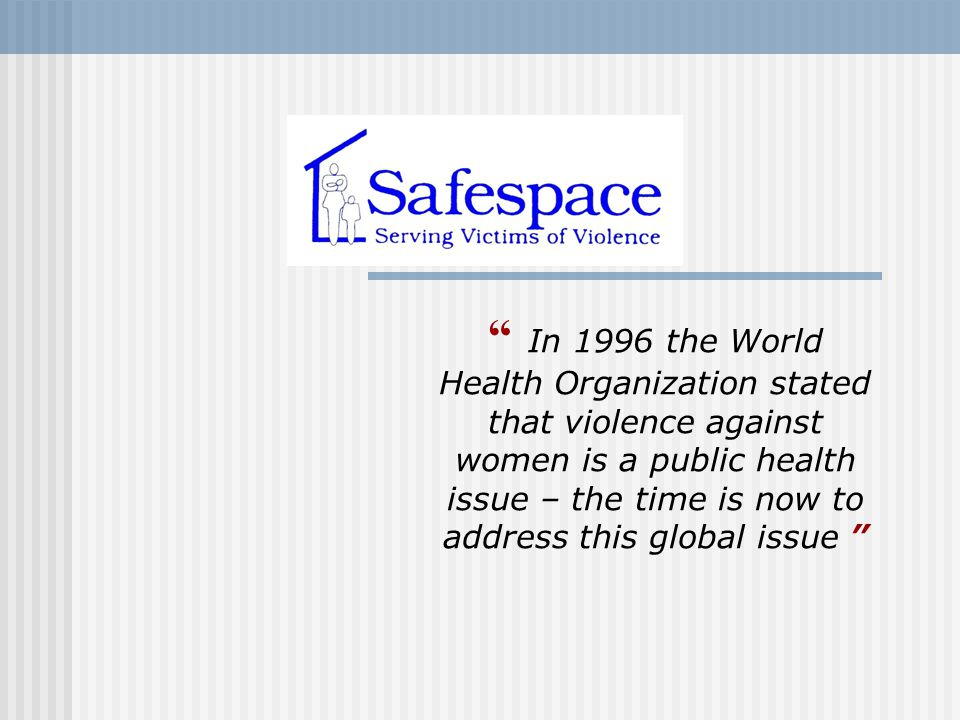 In 1996 the World Health Organization stated that violence against women is a public health issue – the time is now to address this global issue