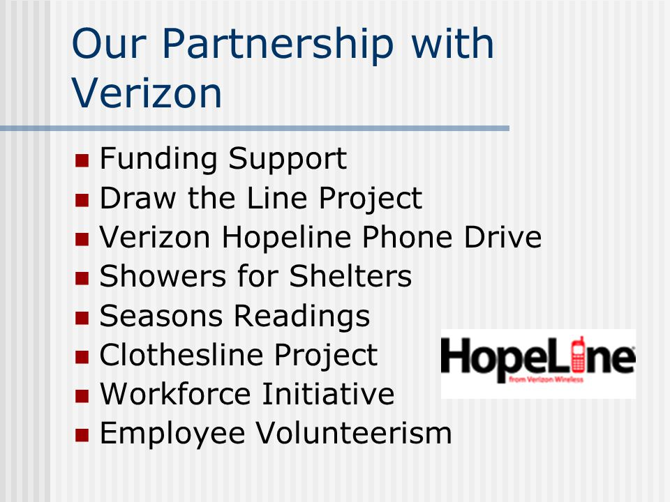 Our Partnership with Verizon Funding Support Draw the Line Project Verizon Hopeline Phone Drive Showers for Shelters Seasons Readings Clothesline Project Workforce Initiative Employee Volunteerism