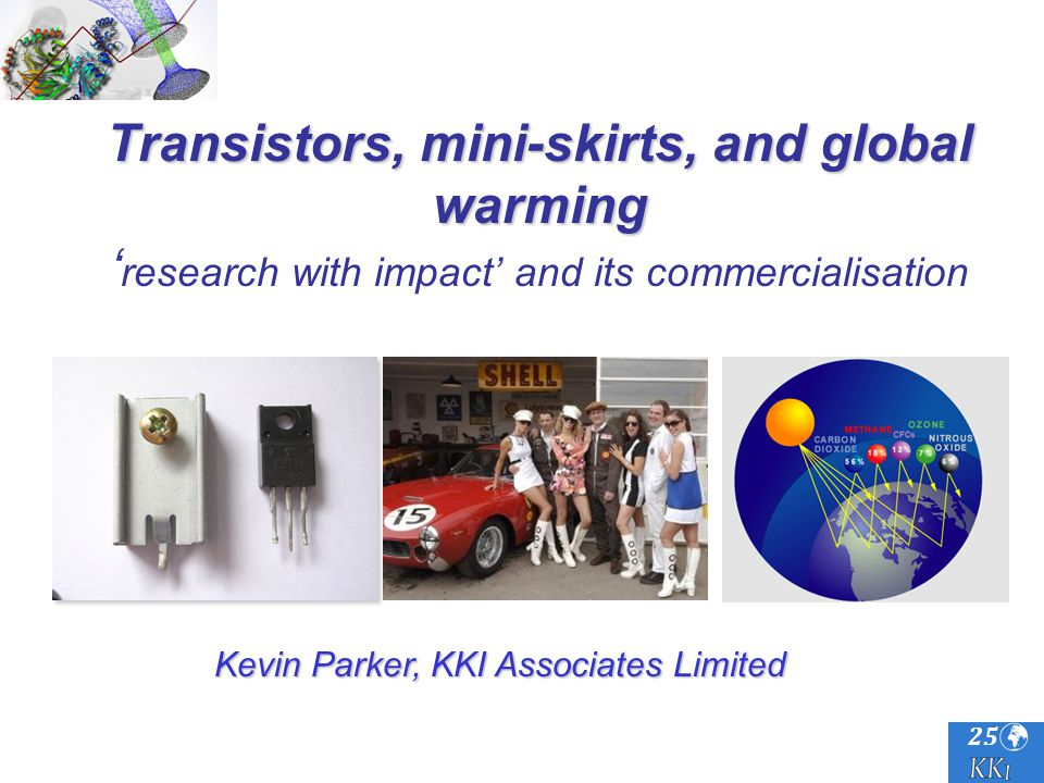 25 Transistors, mini-skirts, and global warming Transistors, mini-skirts, and global warming research with impact and its commercialisation Kevin Parker, KKI Associates Limited