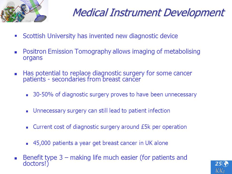 25 Scottish University has invented new diagnostic device Positron Emission Tomography allows imaging of metabolising organs Has potential to replace