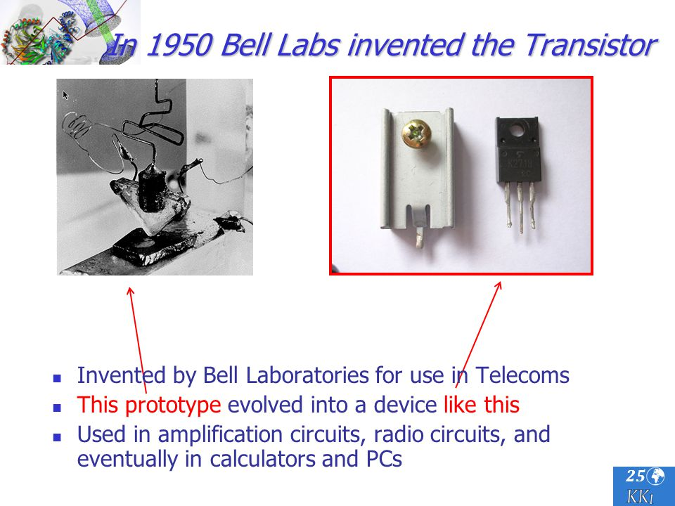 25 In 1950 Bell Labs invented the Transistor Invented by Bell Laboratories for use in Telecoms This prototype evolved into a device like this Used in