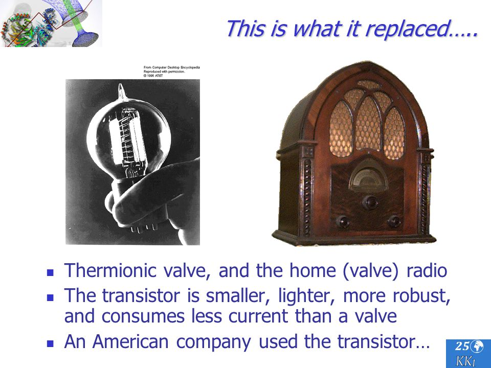 25 This is what it replaced….. Thermionic valve, and the home (valve) radio The transistor is smaller, lighter, more robust, and consumes less current
