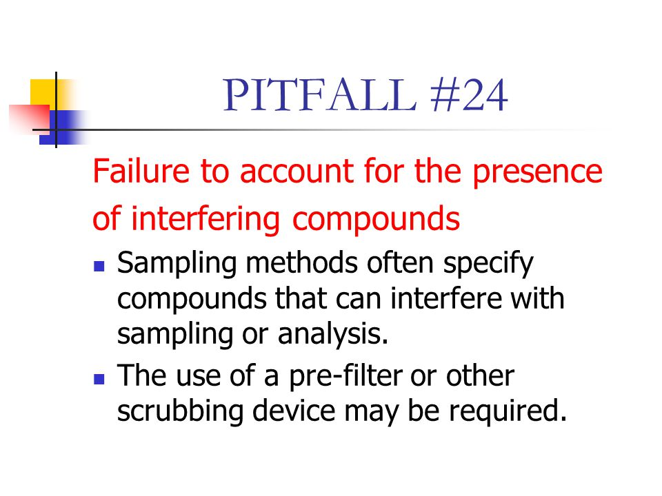 PITFALL #24 Failure to account for the presence of interfering compounds Sampling methods often specify compounds that can interfere with sampling or analysis.