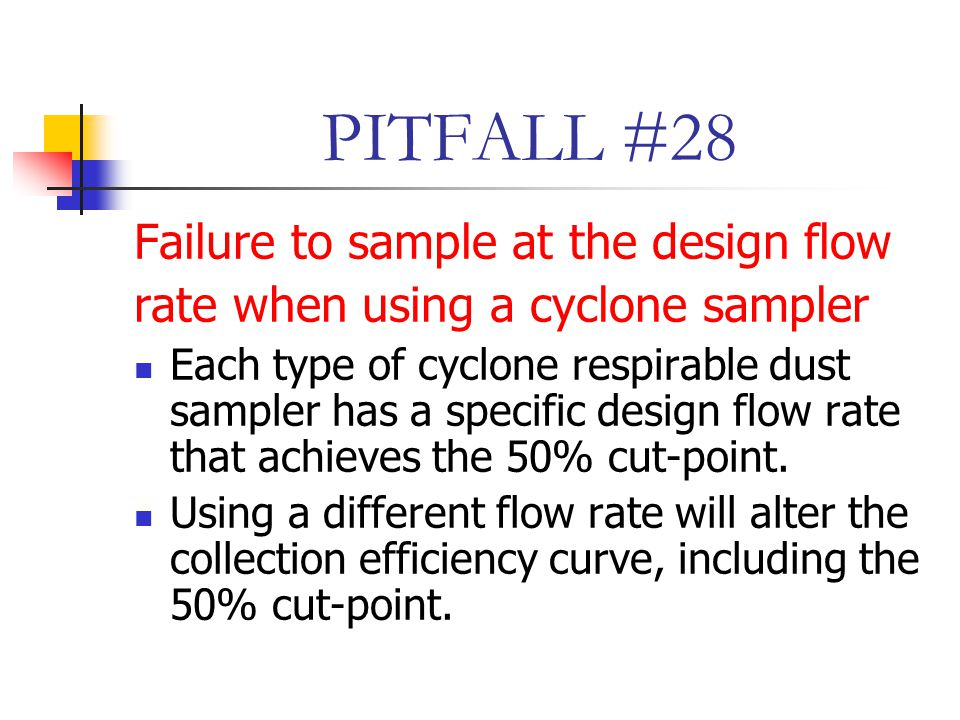 PITFALL #28 Failure to sample at the design flow rate when using a cyclone sampler Each type of cyclone respirable dust sampler has a specific design flow rate that achieves the 50% cut-point.