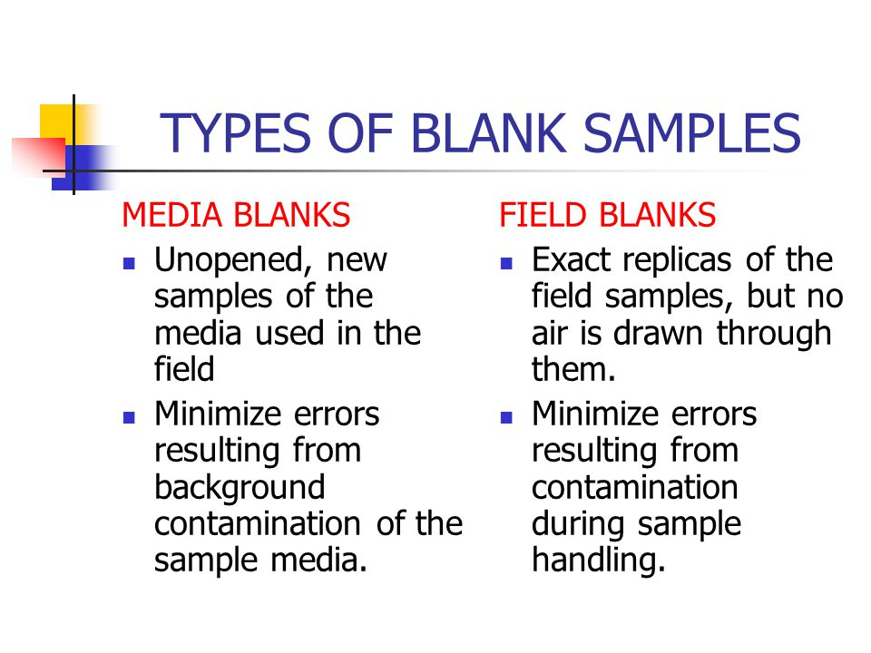 TYPES OF BLANK SAMPLES MEDIA BLANKS Unopened, new samples of the media used in the field Minimize errors resulting from background contamination of the sample media.