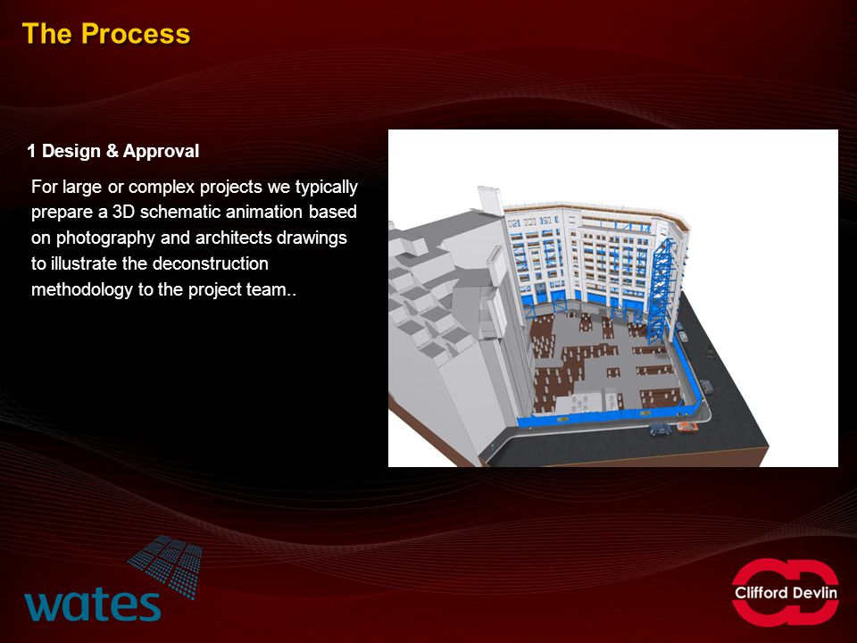 The Process 1 Design & Approval For large or complex projects we typically prepare a 3D schematic animation based on photography and architects drawin