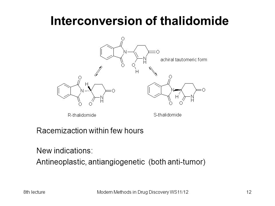 8th lectureModern Methods in Drug Discovery WS11/1212 Interconversion of thalidomide Racemizaction within few hours New indications: Antineoplastic, a