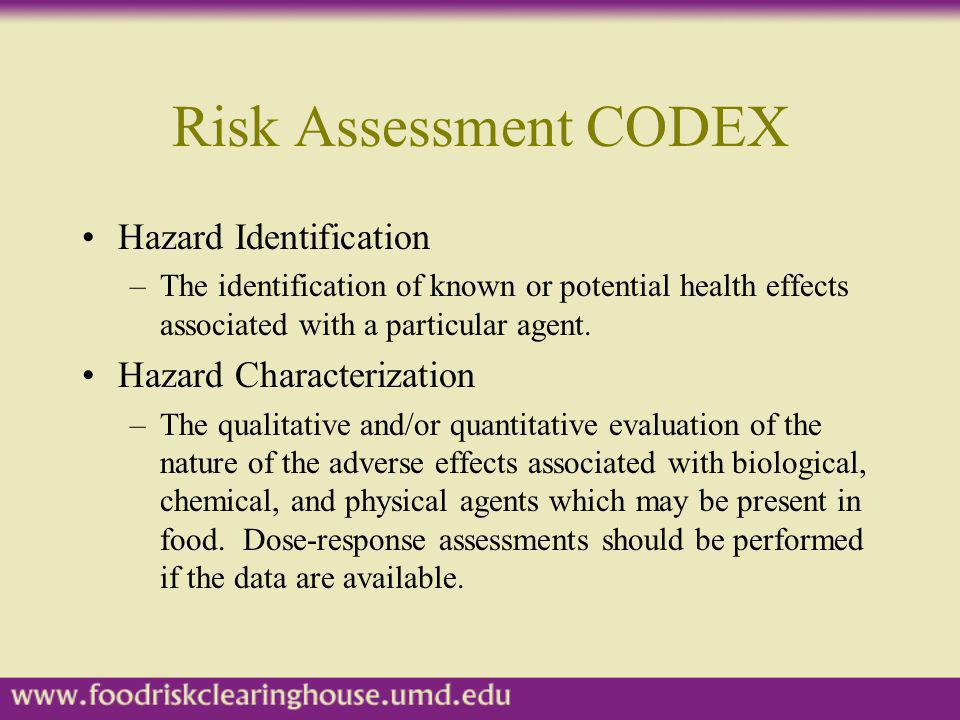Risk Assessment CODEX Exposure Assessment –The qualitative and/or quantitative evaluation of the degree of intake likely to occur.