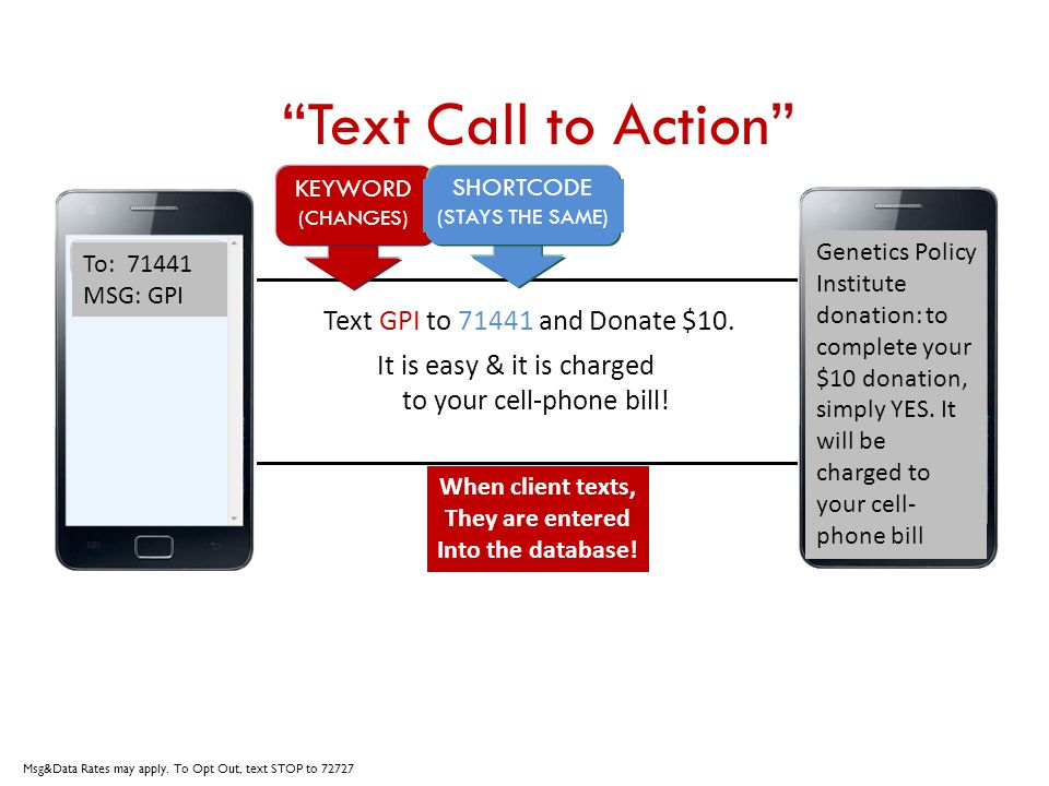Text Call to Action Text GPI to 71441 and Donate $10. It is easy & it is charged to your cell-phone bill! KEYWORD (CHANGES) SHORTCODE (STAYS THE SAME)