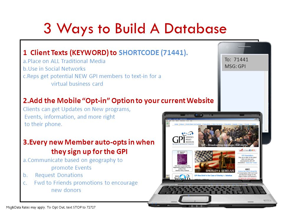 3 Ways to Build A Database 1 Client Texts (KEYWORD) to SHORTCODE (71441). a.Place on ALL Traditional Media b.Use in Social Networks c.Reps get potenti