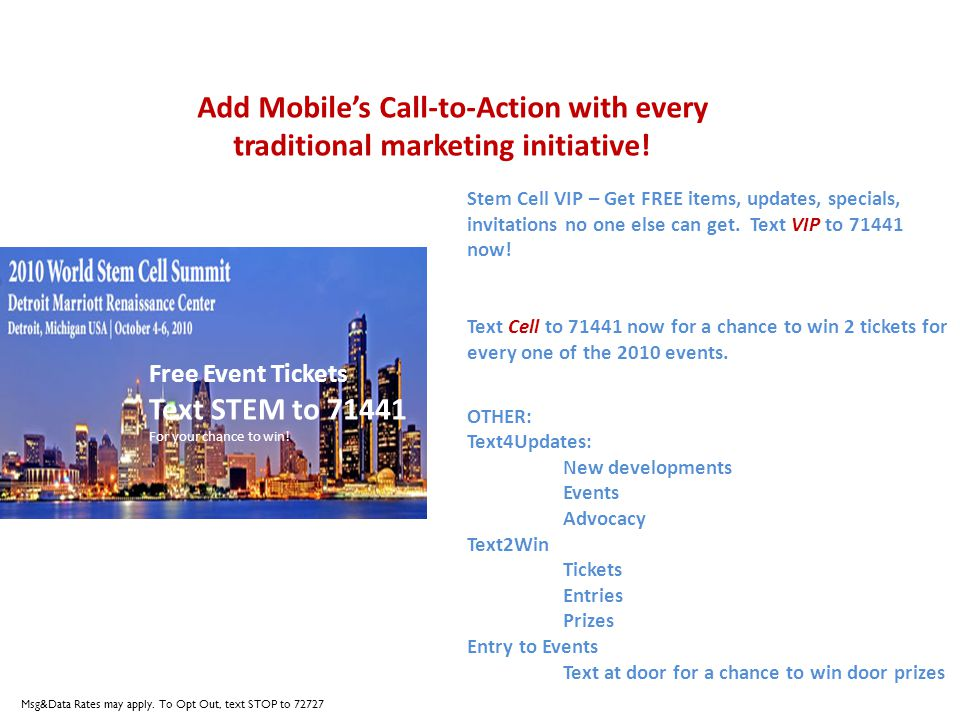 Add Mobiles Call-to-Action with every traditional marketing initiative.
