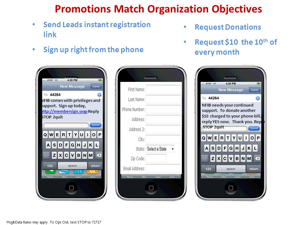 Promotions Match Organization Objectives Send Leads instant registration link Sign up right from the phone NFIB comes with privileges and support. Sig