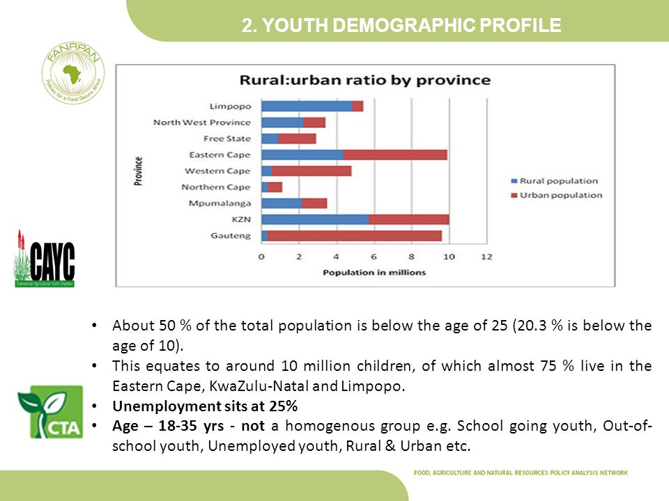 2. YOUTH DEMOGRAPHIC PROFILE About 50 % of the total population is below the age of 25 (20.3 % is below the age of 10). This equates to around 10 mill