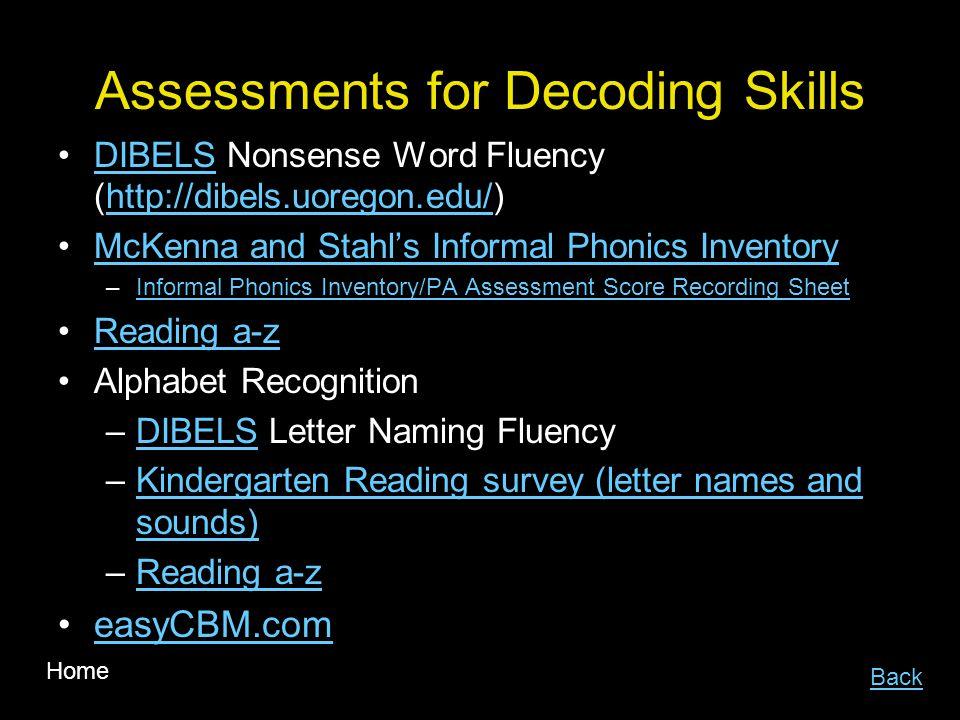 Assessments for Decoding Skills DIBELS Nonsense Word Fluency (http://dibels.uoregon.edu/)DIBELShttp://dibels.uoregon.edu/ McKenna and Stahls Informal Phonics Inventory –Informal Phonics Inventory/PA Assessment Score Recording SheetInformal Phonics Inventory/PA Assessment Score Recording Sheet Reading a-z Alphabet Recognition –DIBELS Letter Naming FluencyDIBELS –Kindergarten Reading survey (letter names and sounds)Kindergarten Reading survey (letter names and sounds) –Reading a-zReading a-z easyCBM.com Back Home
