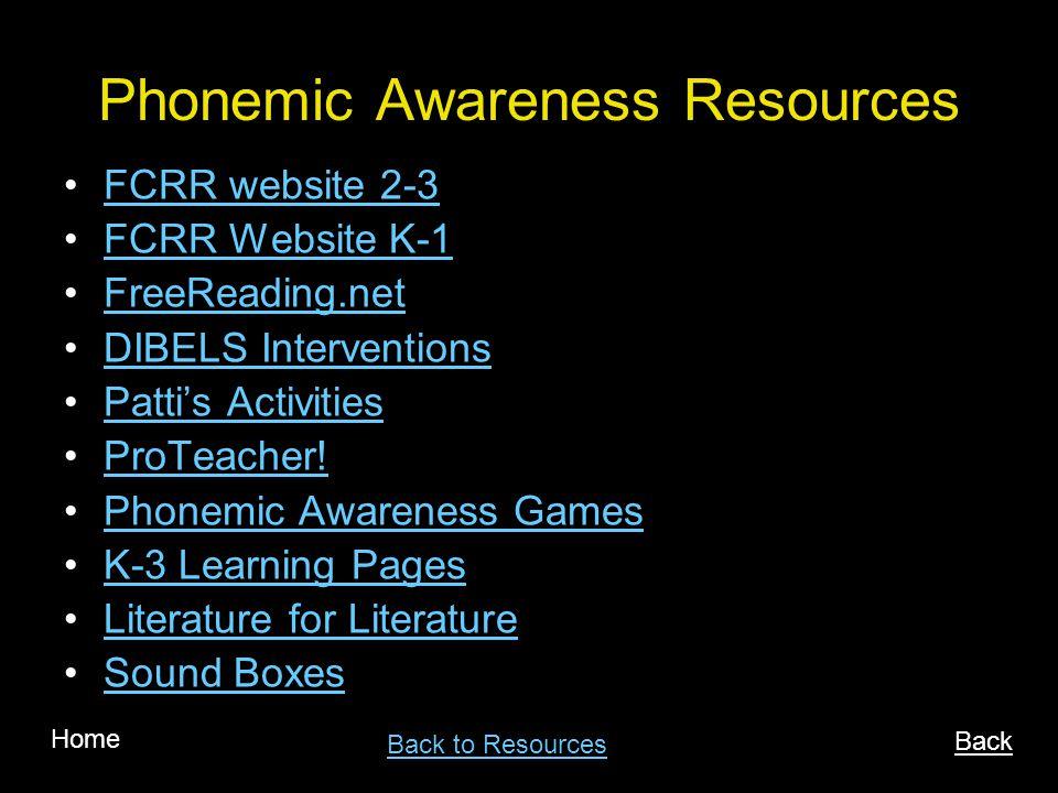 Phonemic Awareness Resources FCRR website 2-3 FCRR Website K-1 FreeReading.net DIBELS Interventions Pattis Activities ProTeacher.