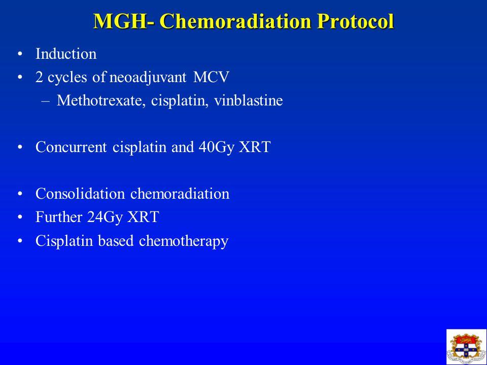 MGH- Chemoradiation Protocol Induction 2 cycles of neoadjuvant MCV –Methotrexate, cisplatin, vinblastine Concurrent cisplatin and 40Gy XRT Consolidati