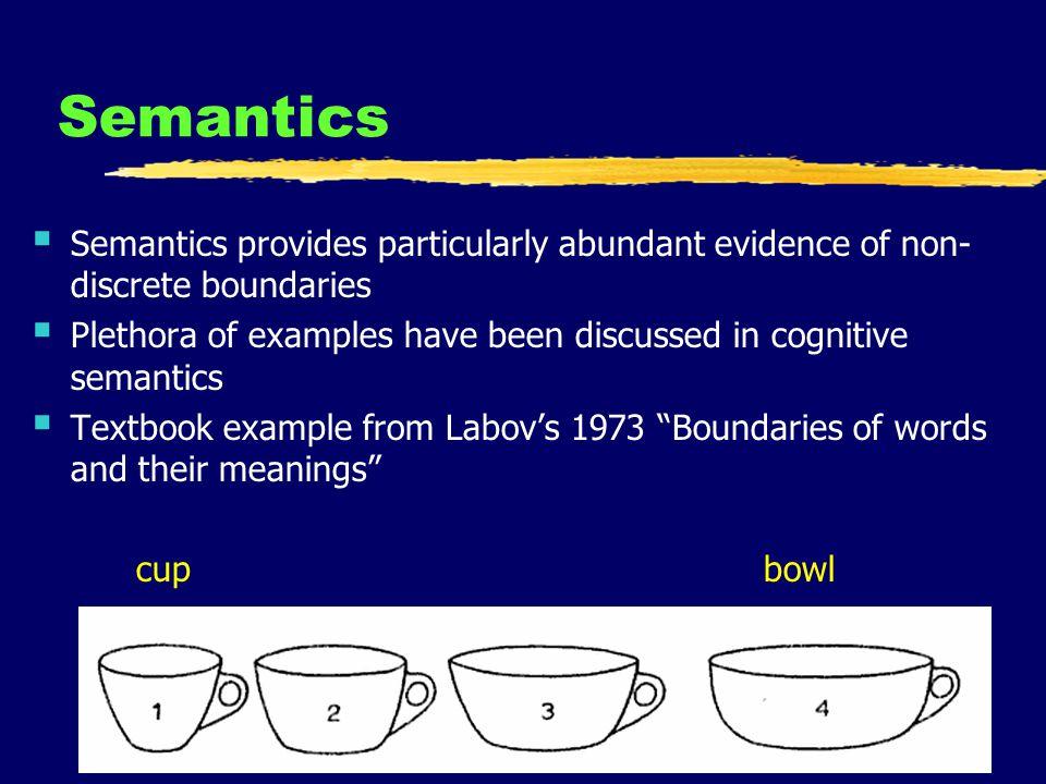 13 Semantics Semantics provides particularly abundant evidence of non- discrete boundaries Plethora of examples have been discussed in cognitive seman