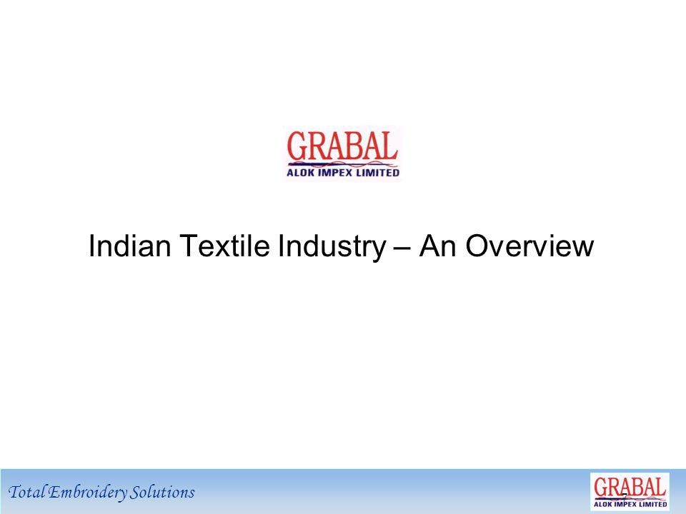 Total Embroidery Solutions 8 8 Opportunities - Global Textile Industry Removal of quotas has ushered a number of changes at demand as well as supply end Gradual shift of manufacturing base from high cost Western countries to low cost Asian countries China and India are the biggest beneficiaries of quota removal World textile trade expected to grow from US$ 480 billion in 2005 to US$ 650 billion by 2010 India to emerge as a preferred supplier due to strong legacy in textiles and the perceived need to reduce dependence on China Indias exports to grow from present level of USD 17 bn to USD 50 bn by 2010 USD 650 bn USD 480 bn.
