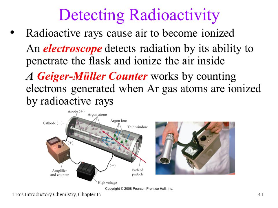 Tro s Introductory Chemistry, Chapter 1740 Detecting Radioactivity To detect something, you need to identify what it does Radioactive rays can expose light-protected photographic film Use photographic film to detect its presence – film badges