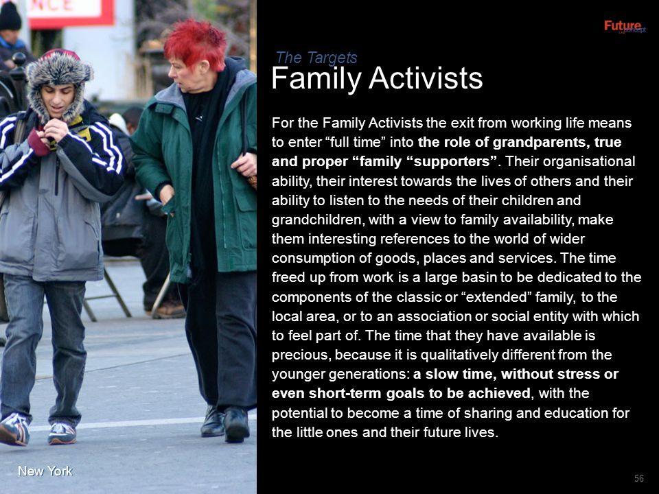 Family Activists 56 For the Family Activists the exit from working life means to enter full time into the role of grandparents, true and proper family