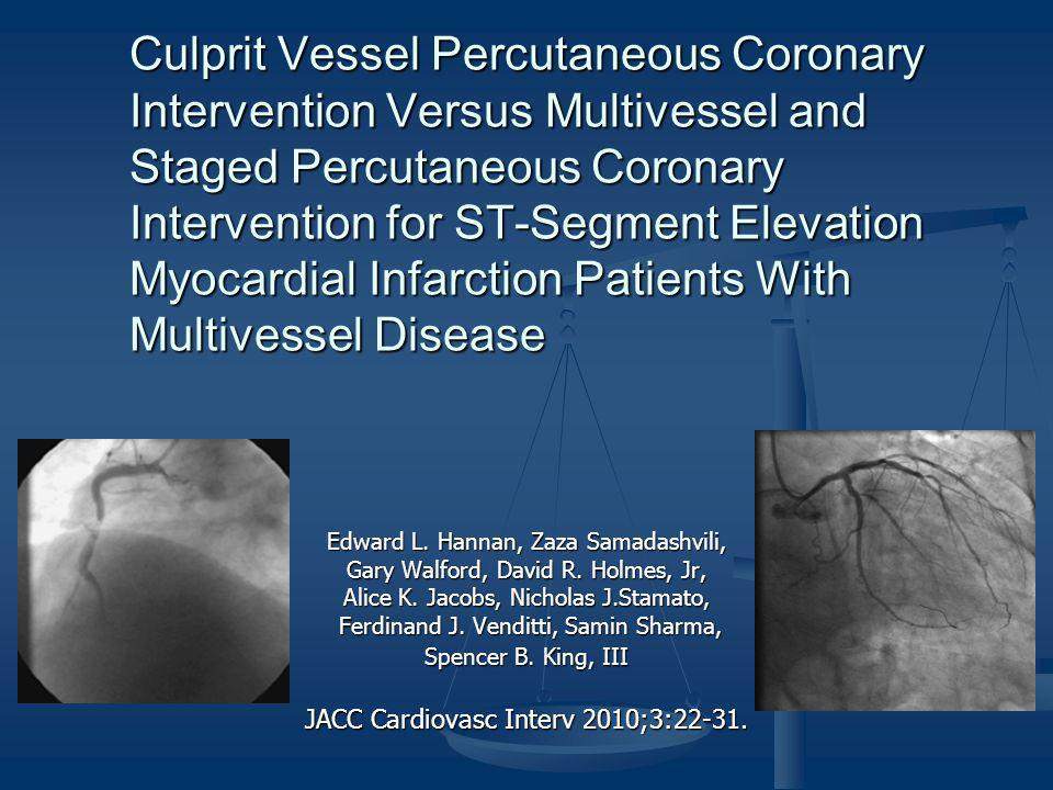 Culprit Vessel Percutaneous Coronary Intervention Versus Multivessel and Staged Percutaneous Coronary Intervention for ST-Segment Elevation Myocardial