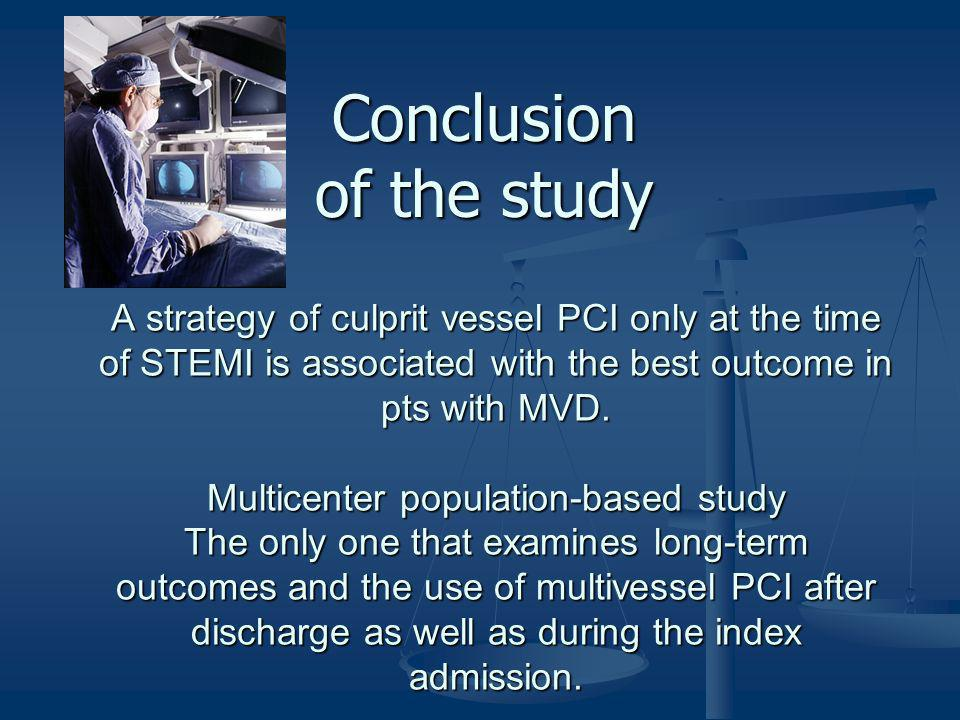 A strategy of culprit vessel PCI only at the time of STEMI is associated with the best outcome in pts with MVD. Multicenter population-based study The