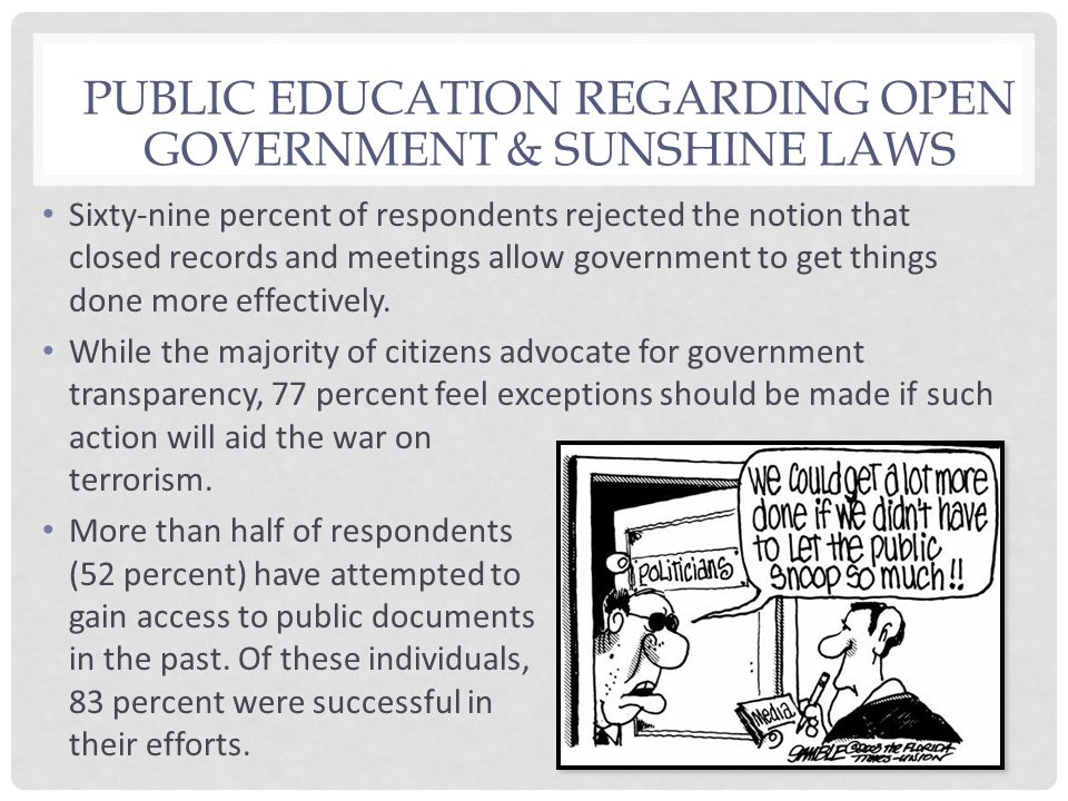Sixty-nine percent of respondents rejected the notion that closed records and meetings allow government to get things done more effectively. While the