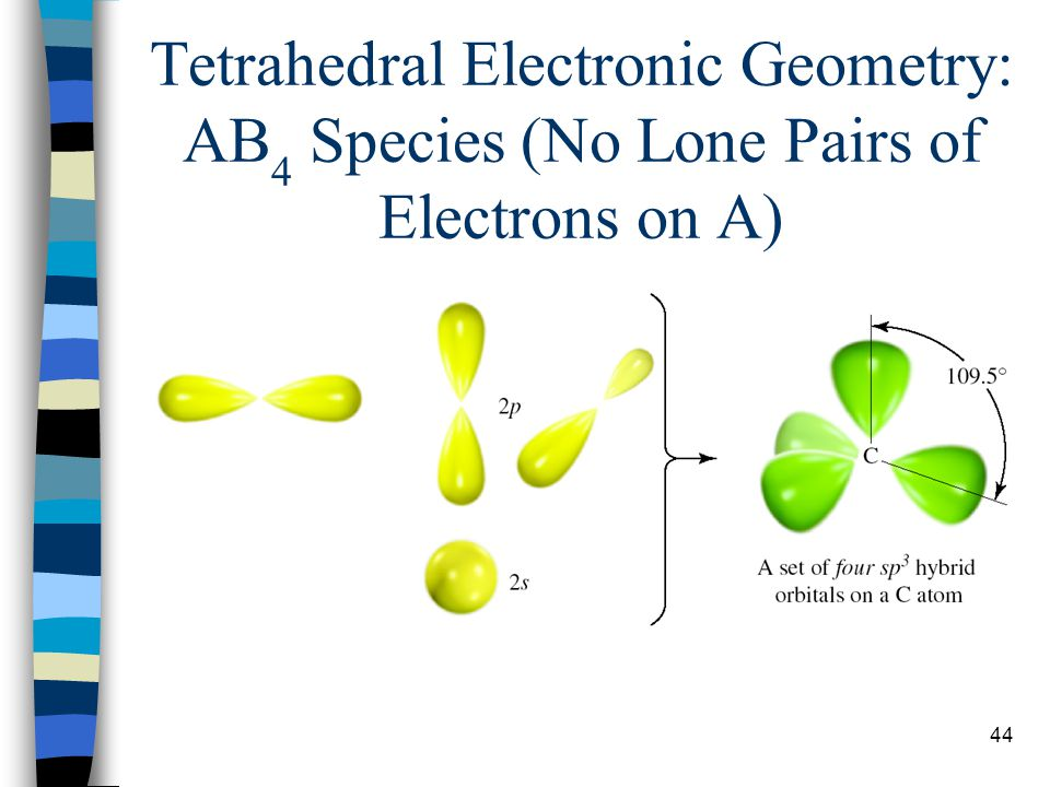 44 Tetrahedral Electronic Geometry: AB 4 Species (No Lone Pairs of Electrons on A)