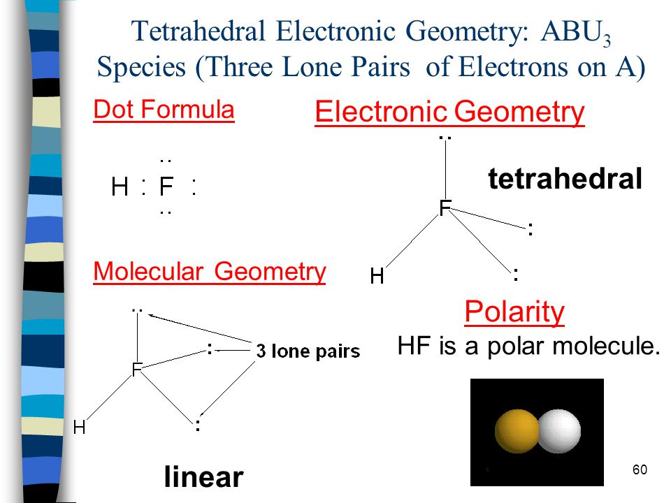 60 Tetrahedral Electronic Geometry: ABU 3 Species (Three Lone Pairs of Electrons on A) Dot Formula Electronic Geometry tetrahedral Molecular Geometry