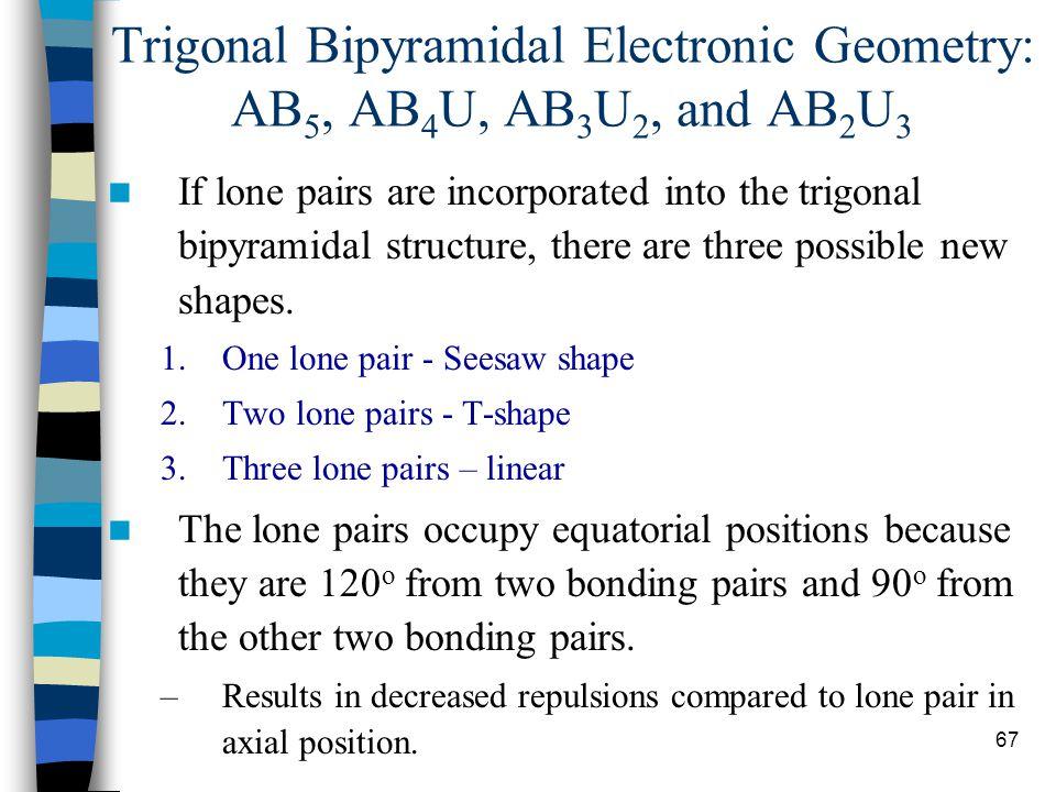 67 Trigonal Bipyramidal Electronic Geometry: AB 5, AB 4 U, AB 3 U 2, and AB 2 U 3 If lone pairs are incorporated into the trigonal bipyramidal structu