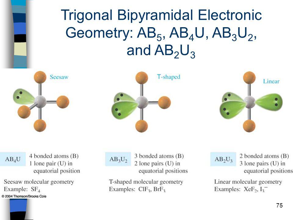 75 Trigonal Bipyramidal Electronic Geometry: AB 5, AB 4 U, AB 3 U 2, and AB 2 U 3