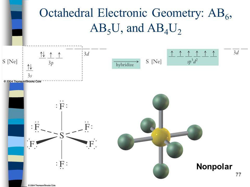 77 Nonpolar Octahedral Electronic Geometry: AB 6, AB 5 U, and AB 4 U 2
