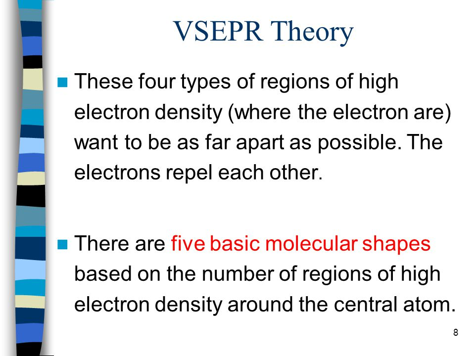 9 VSEPR Theory These are the regions of high electron density around the central atom for two through six electron densities around a central atom.