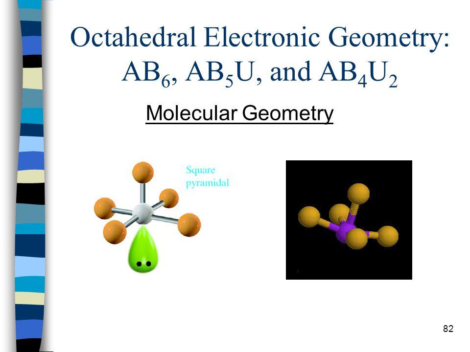 82 Octahedral Electronic Geometry: AB 6, AB 5 U, and AB 4 U 2 Molecular Geometry