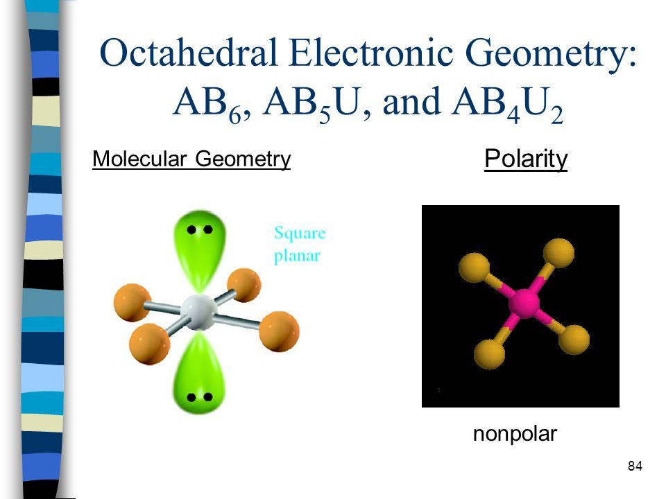 84 Octahedral Electronic Geometry: AB 6, AB 5 U, and AB 4 U 2 Molecular Geometry Polarity nonpolar