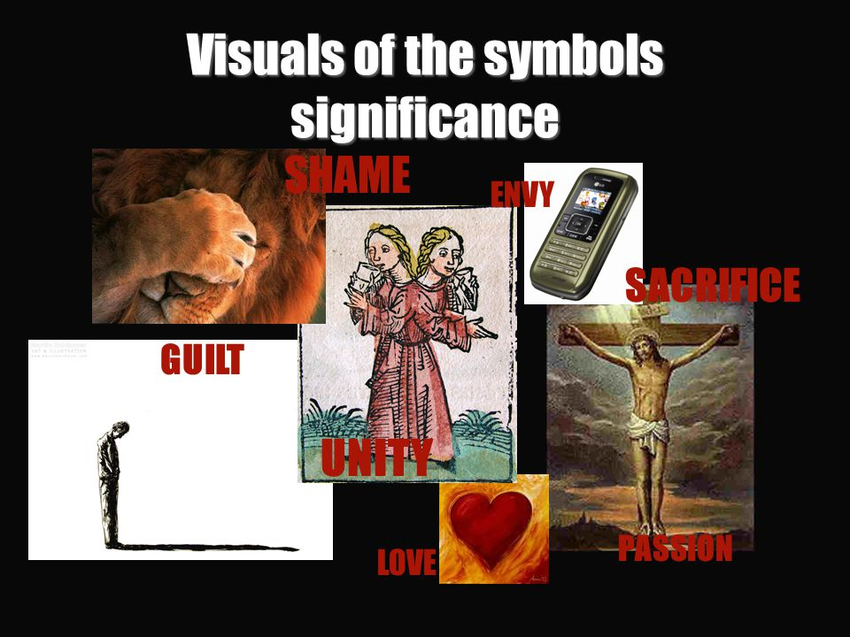 Visuals of the symbols significance SHAME GUILT UNITY LOVE PASSION SACRIFICE ENVY