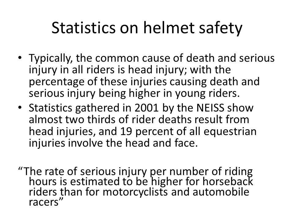 Bicycle helmets reduce the risk of serious head injury by as much as 85% and the risk of brain injury by as much as 88%.