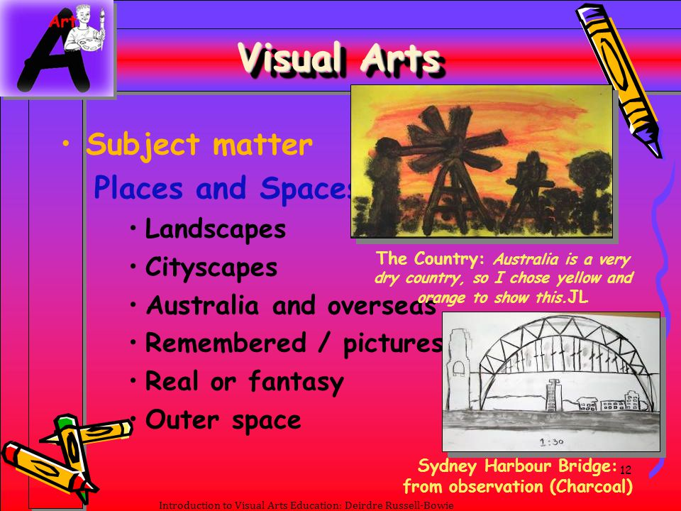 12 Introduction to Visual Arts Education: Deirdre Russell-Bowie Visual Arts Subject matter Places and Spaces Landscapes Cityscapes Australia and overs
