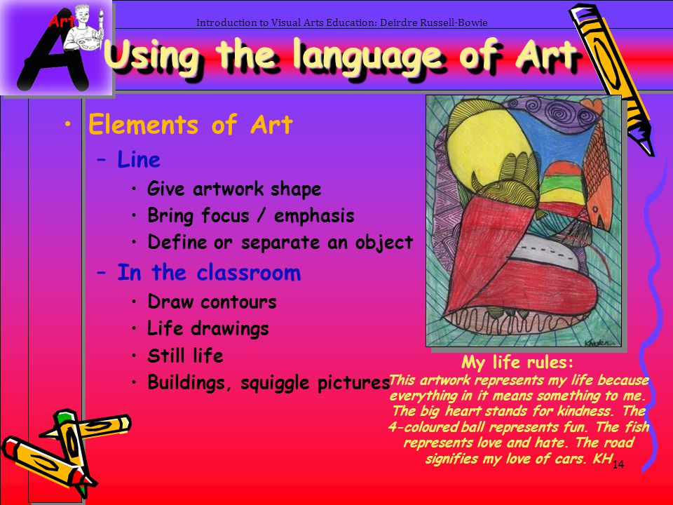 14 Introduction to Visual Arts Education: Deirdre Russell-Bowie Elements of Art –Line Give artwork shape Bring focus / emphasis Define or separate an