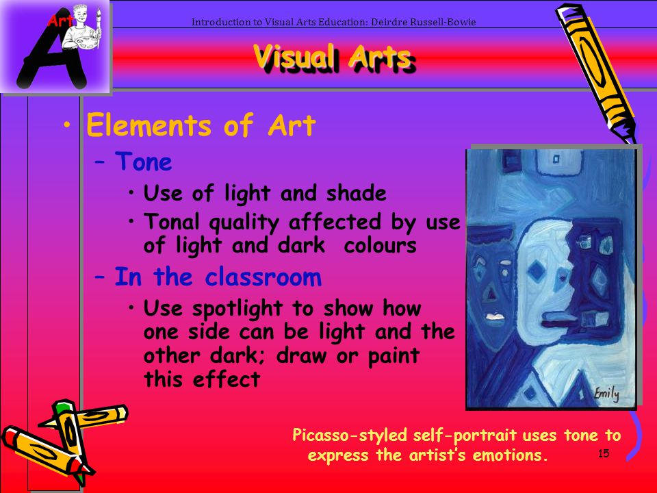 15 Introduction to Visual Arts Education: Deirdre Russell-Bowie Visual Arts Elements of Art –Tone Use of light and shade Tonal quality affected by use