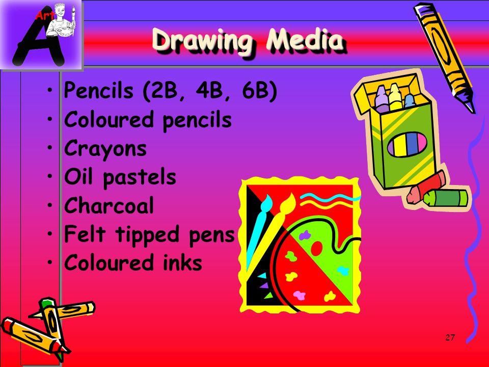 27 Drawing Media Pencils (2B, 4B, 6B) Coloured pencils Crayons Oil pastels Charcoal Felt tipped pens Coloured inks