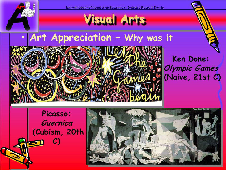 43 Introduction to Visual Arts Education: Deirdre Russell-Bowie Visual Arts Art Appreciation – Why was it created? Ken Done: Olympic Games (Naive, 21s