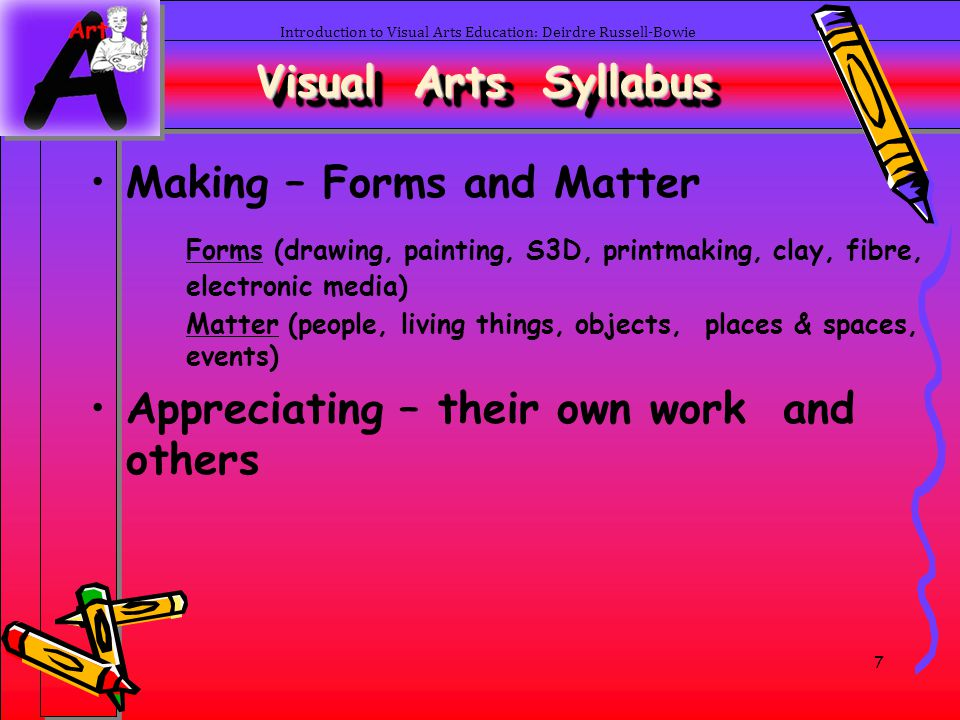 38 Introduction to Visual Arts Education: Deirdre Russell-Bowie Visual Arts Art Appreciation –Personal, reflective responses –Analyzing artworks in terms of elements, style, history –Explore artists intentions –Peer artworks –Visit art galleries