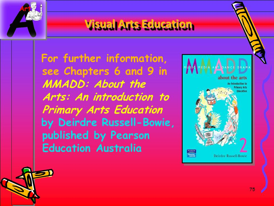 75 Visual Arts Education For further information, see Chapters 6 and 9 in MMADD: About the Arts: An introduction to Primary Arts Education by Deirdre