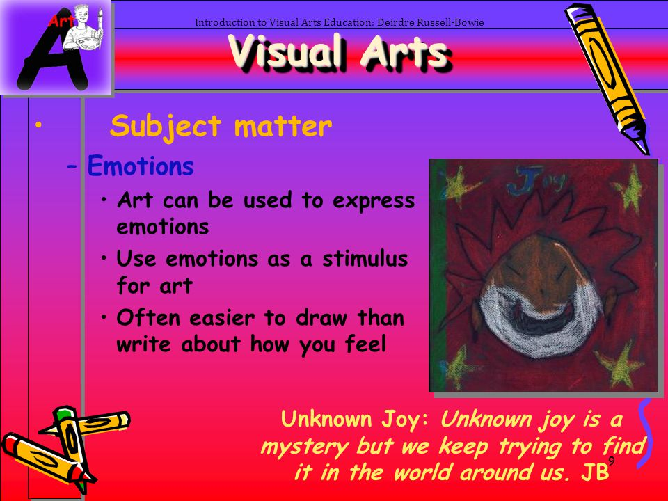 9 Introduction to Visual Arts Education: Deirdre Russell-Bowie Visual Arts Subject matter –Emotions Art can be used to express emotions Use emotions a