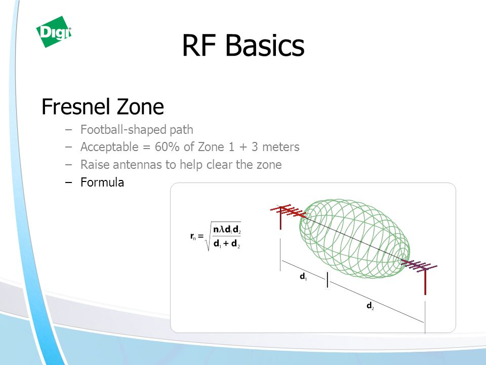 RF Basics Fresnel Zone –Football-shaped path –Acceptable = 60% of Zone 1 + 3 meters –Raise antennas to help clear the zone –Formula
