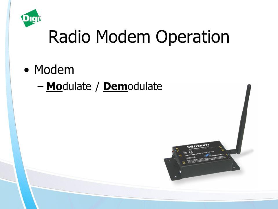 Modem –Modulate / Demodulate Radio Modem Operation
